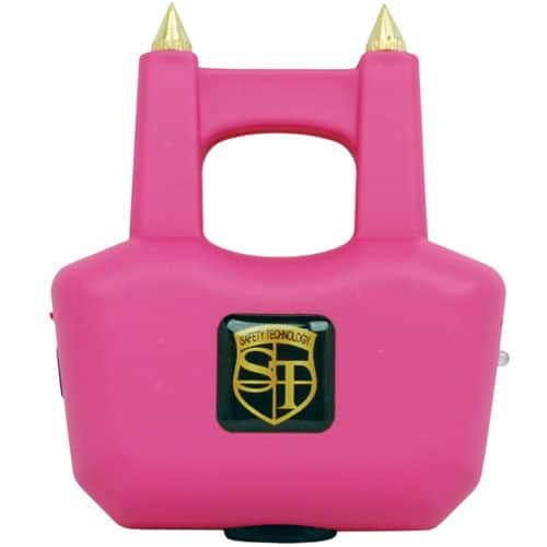 Spike pink stun gun with prongs front view