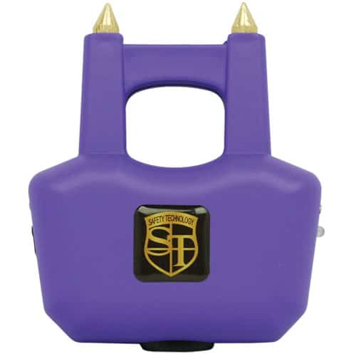 Spike purple stun gun with prongs front view